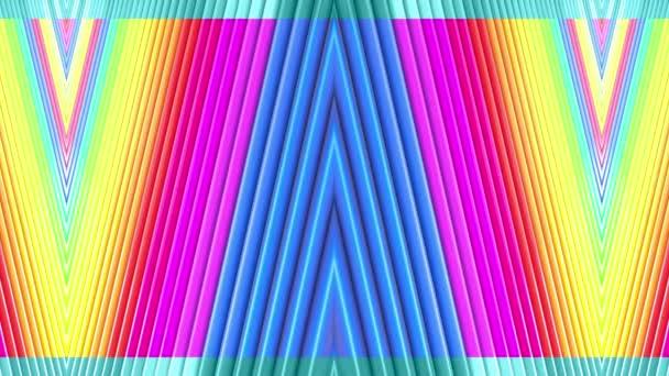 Duhové vícebarevné pruhy tah cyklicky. Abstraktní 3d hladké světlé pozadí v rozlišení 4k. Jednoduchá geometrie v kreslené kreativní styl. Smyčky hladké animace. Linka 23