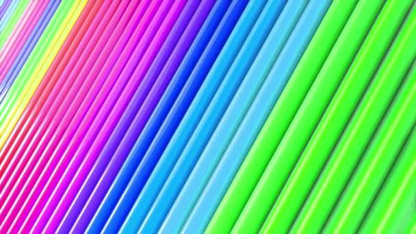Duhové vícebarevné pruhy tah cyklicky. Abstraktní 3d hladké světlé pozadí v rozlišení 4k. Jednoduchá geometrie v kreslené kreativní styl. Smyčky hladké animace. Linka 25
