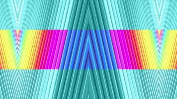 Rainbow színes sávok mozog ciklikusan. Absztrakt 3d zökkenőmentes világos háttér 4k. Egyszerű geometriai rajzfilm kreatív stílus. Végtelenített sima animáció. On-line 26
