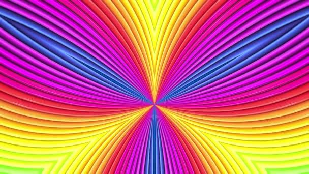 Rainbow színes sávok mozog ciklikusan. Absztrakt 3d zökkenőmentes világos háttér 4k. Egyszerű geometriai rajzfilm kreatív stílus. Végtelenített sima animáció. Görbék 22