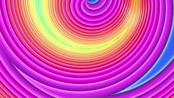 Rainbow színes sávok mozog ciklikusan. Absztrakt 3d zökkenőmentes világos háttér 4k. Egyszerű geometriai rajzfilm kreatív stílus. Végtelenített sima animáció. Görbék 24