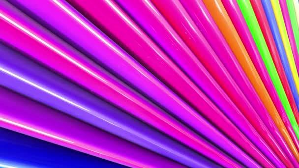 Duhové vícebarevné pruhy tah cyklicky. Abstraktní 3d hladké světlé pozadí v rozlišení 4k. Jednoduchá geometrie v kreslené kreativní styl. Smyčky hladké animace. Linka 33