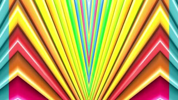 Duhové vícebarevné pruhy tah cyklicky. Abstraktní 3d hladké světlé pozadí v rozlišení 4k. Jednoduchá geometrie v kreslené kreativní styl. Smyčky hladké animace. Čára