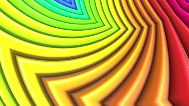 Duhové vícebarevné pruhy tah cyklicky. Abstraktní 3d hladké světlé pozadí v rozlišení 4k. Jednoduchá geometrie v kreslené kreativní styl. Smyčky hladké animace. Křivky 26