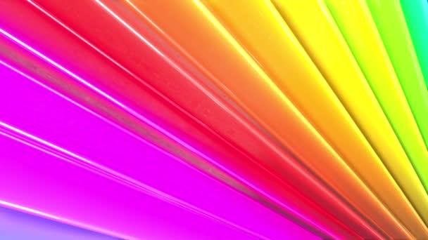 Duhové vícebarevné pruhy tah cyklicky. Abstraktní 3d hladké světlé pozadí v rozlišení 4k. Jednoduchá geometrie v kreslené kreativní styl. Smyčky hladké animace. Linka 41