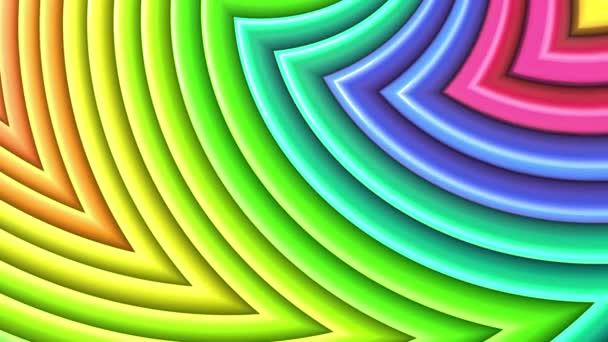 Duhové vícebarevné pruhy tah cyklicky. Abstraktní 3d hladké světlé pozadí v rozlišení 4k. Jednoduchá geometrie v kreslené kreativní styl. Smyčky hladké animace. Křivky 32