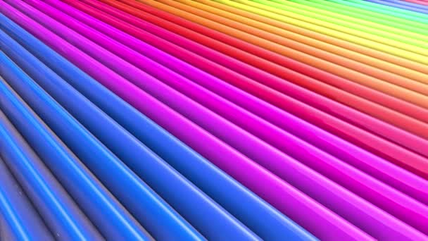 Duhové vícebarevné pruhy tah cyklicky. Abstraktní 3d hladké světlé pozadí v rozlišení 4k. Jednoduchá geometrie v kreslené kreativní styl. Smyčky hladké animace. Řádek 47