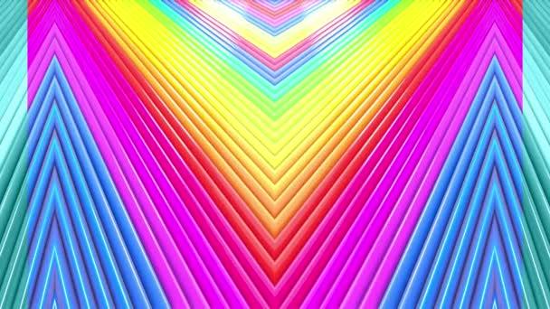 Duhové vícebarevné pruhy tah cyklicky. Abstraktní 3d hladké světlé pozadí v rozlišení 4k. Jednoduchá geometrie v kreslené kreativní styl. Smyčky hladké animace. 49