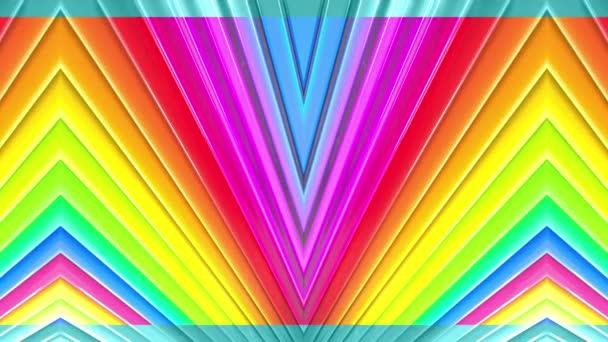 Duhové vícebarevné pruhy tah cyklicky. Abstraktní 3d hladké světlé pozadí v rozlišení 4k. Jednoduchá geometrie v kreslené kreativní styl. Smyčky hladké animace. Linka 50