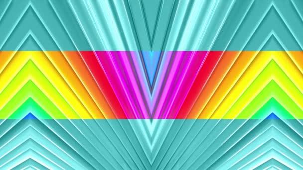 Duhové vícebarevné pruhy tah cyklicky. Abstraktní 3d hladké světlé pozadí v rozlišení 4k. Jednoduchá geometrie v kreslené kreativní styl. Smyčky hladké animace. Linka 52