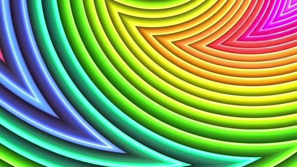 Duhové vícebarevné pruhy tah cyklicky. Abstraktní 3d hladké světlé pozadí v rozlišení 4k. Jednoduchá geometrie v kreslené kreativní styl. Smyčky hladké animace. Křivky 37