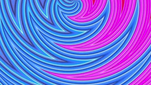 Duhové vícebarevné pruhy tah cyklicky. Abstraktní 3d hladké světlé pozadí v rozlišení 4k. Jednoduchá geometrie v kreslené kreativní styl. Smyčky hladké animace. Křivky 38
