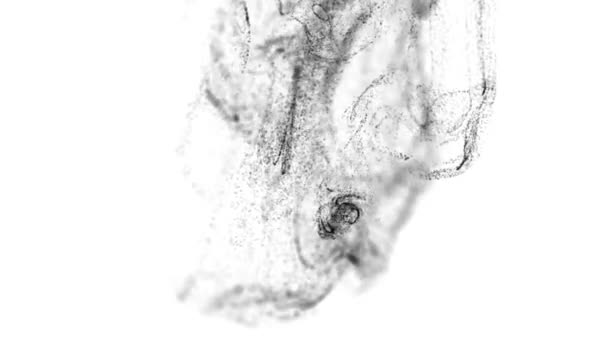 3d ink effect advection in 4k  black particles in stream of invisible ink  in water  3d render with depth of field, luma matte as alpha channel  Black  particles on white background  3