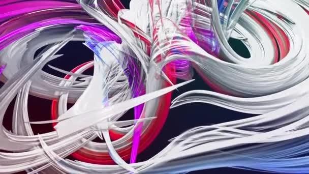barevné duhové pruhy twist v kruhové formaci, pohyb v kruhu. Bezproblémové kreativní pozadí, opakuje animace 3d hladké světlé lesklé stuhy stočený do kruhu se třpytí jako sklo. 39
