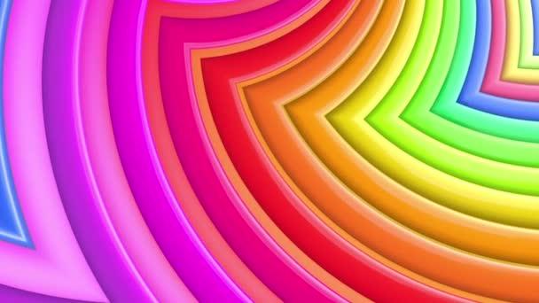 Duhové vícebarevné pruhy krok cyklicky v jednoduché geometrii kreslené kreativní styl. Abstraktní 3d hladké světlé pozadí v rozlišení 4k. Smyčky hladké animace. Křivky
