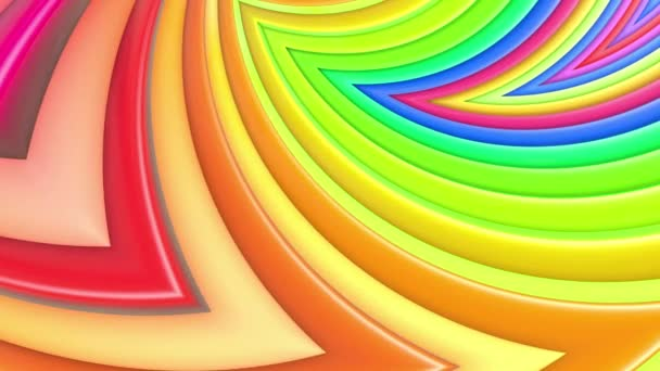 Rainbow multicolored stripes move cyclically in simple geometry cartoon creative style. Abstract 3d seamless bright background in 4k. Looped smooth animation. Curves