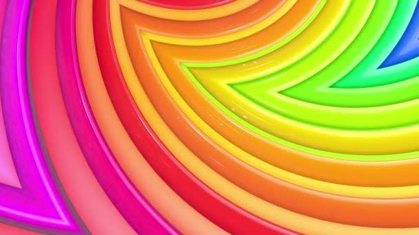 Szivárvány sokszínű csíkok mozognak ciklikusan egyszerű geometriai rajzfilm kreatív stílus. Absztrakt 3d zökkenőmentes világos háttér 4k. Végtelenített sima animáció. Görbék