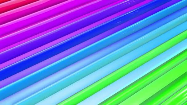 Szivárvány sokszínű csíkok mozognak ciklikusan egyszerű geometriai rajzfilm kreatív stílus. Absztrakt 3d zökkenőmentes világos háttér 4k. Végtelenített sima animáció.