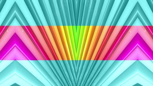 Duhové vícebarevné pruhy krok cyklicky v jednoduché geometrii kreslené kreativní styl. Abstraktní 3d hladké světlé pozadí v rozlišení 4k. Smyčky hladké animace. Linka 12