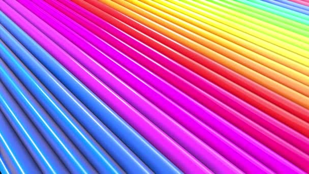 Rainbow multicolored stripes move cyclically in simple geometry cartoon creative style. Abstract 3d seamless bright background in 4k. Looped smooth animation. Line 17