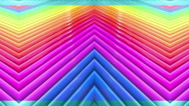 Duhové vícebarevné pruhy krok cyklicky v jednoduché geometrii kreslené kreativní styl. Abstraktní 3d hladké světlé pozadí v rozlišení 4k. Smyčky hladké animace. Linka 19