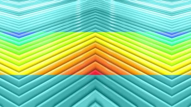 Duhové vícebarevné pruhy krok cyklicky v jednoduché geometrii kreslené kreativní styl. Abstraktní 3d hladké světlé pozadí v rozlišení 4k. Smyčky hladké animace. Linka 26