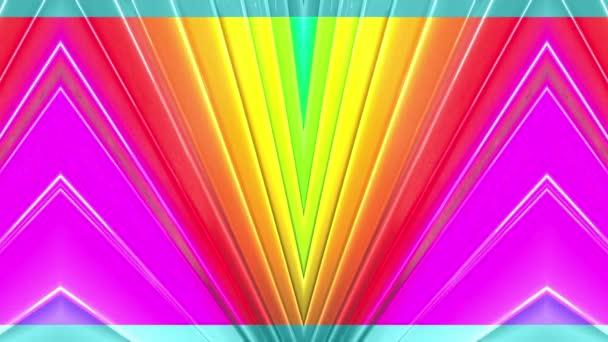 Duhové vícebarevné pruhy krok cyklicky v jednoduché geometrii kreslené kreativní styl. Abstraktní 3d hladké světlé pozadí v rozlišení 4k. Smyčky hladké animace. Linka 36