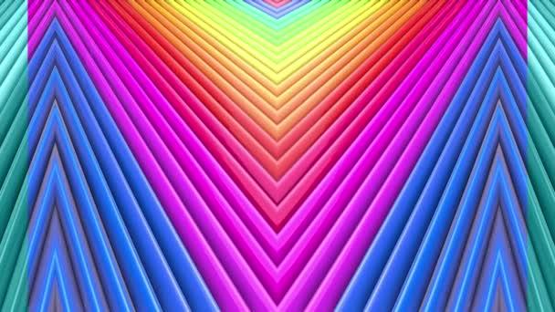 Duhové vícebarevné pruhy krok cyklicky v jednoduché geometrii kreslené kreativní styl. Abstraktní 3d hladké světlé pozadí v rozlišení 4k. Smyčky hladké animace. Řádek 39