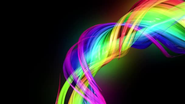 4k colorful looped animation of a rainbow colors tape with neon light  moving in a circle as abstract background with lines and ribbons  Luma  matte is included as alpha channel for compositing  16