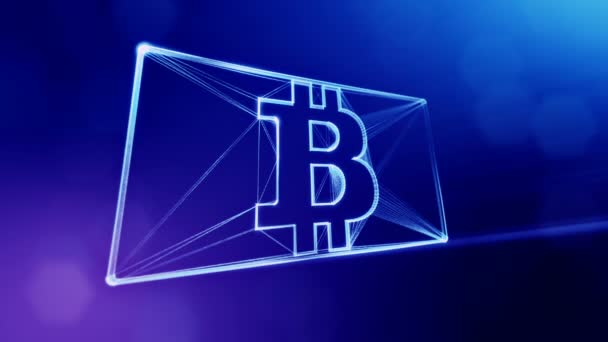 Sign of bitcoin in the card. Financial background made of glow particles as vitrtual hologram. Shiny 3D loop animation with depth of field, bokeh and copy space. Blue v6