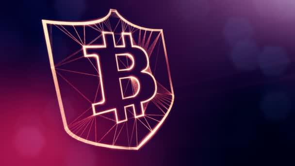 Bitcoin logó a pajzson belül. Pénzügyi hátteret készült ragyogás részecskék, mint vitrtual hologram. Shiny 3D hurok animáció mélységélesség, bokeh és másolási hely. Ibolya v6