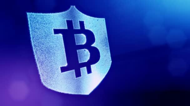 Bitcoin logó a pajzson belül. Pénzügyi hátteret készült ragyogás részecskék, mint vitrtual hologram. Shiny 3D hurok animáció mélységélesség, bokeh és másolási hely. Kék v6