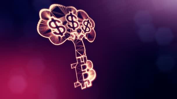 Zeichen des Dollarbaums wächst aus dem Bitcoin-Logo. finanzieller Hintergrund aus Glühpartikeln als vitrales Hologramm. glänzende 3D-Schleifenanimation mit Schärfentiefe, Bokeh und Kopierraum. violett v6