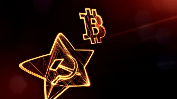 logo bitcoin and emblem of the USSR. Financial background made of glow particles as vitrtual hologram. Shiny 3D loop animation with depth of field, bokeh and copy space. Dark version v6