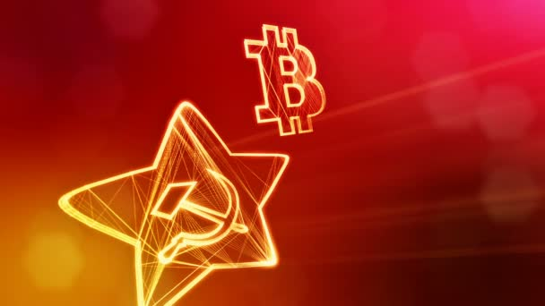 logo bitcoin and emblem of the USSR. Financial background made of glow particles as vitrtual hologram. Shiny 3D loop animation with depth of field, bokeh and copy space. Red v6