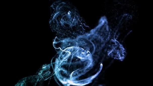 le particelle di bagliore 4K si muovono in un flusso di liquido davanti alla fotocamera in Slow Motion. effetto inchiostro 3D per particelle luminose, Advection. Usa il mascherino Luma come canale alfa per tagliare le particelle. Blu ver. 1