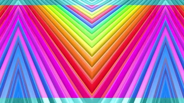 Abstraktní 3D bezešvé pozadí v 4k s duhové pásky. Duhové vícebarevné pruhy se pohybují cyklicky ve zjednodušené geometrii kresleném tvůrčím stylem. Plynulá animace. 2