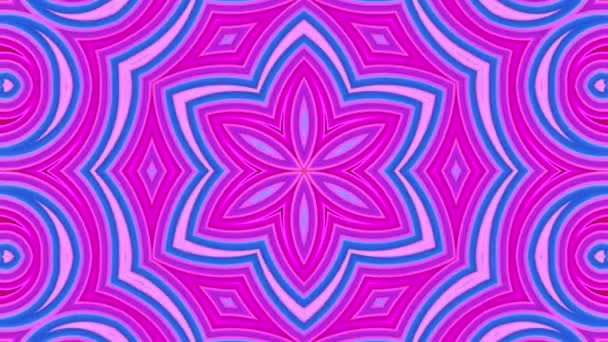 Abstract 3d seamless bright background in 4k with red blue tapes. Red blue stripes move cyclically in simple geometry cartoon creative style. Looped smooth animation. 8 Kaleidoscope