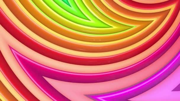 Abstraktní 3D bezešvé pozadí v 4k s duhové pásky. Duhové vícebarevné pruhy se pohybují cyklicky ve zjednodušené geometrii kresleném tvůrčím stylem. Plynulá animace. 20