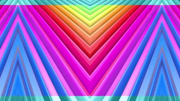 Abstraktní 3D bezešvé pozadí v 4k s duhové pásky. Duhové vícebarevné pruhy se pohybují cyklicky ve zjednodušené geometrii kresleném tvůrčím stylem. Plynulá animace. 25