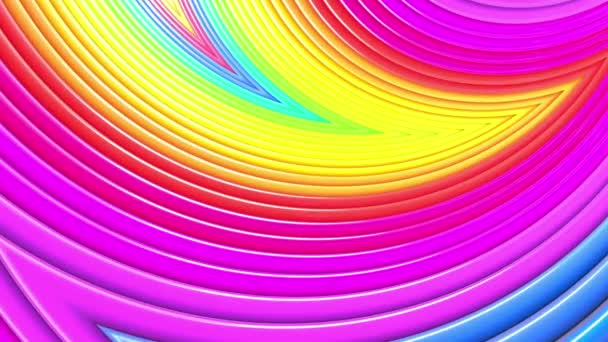 Abstract 3d seamless bright background in 4k with rainbow tapes. Rainbow multicolored stripes move cyclically in simple geometry cartoon creative style. Looped smooth animation. 34