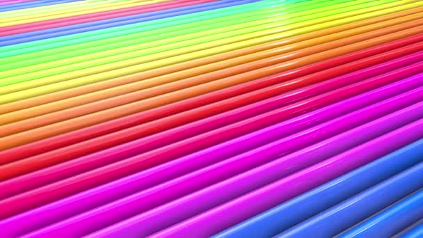Abstract 3d seamless bright background in 4k with rainbow tapes. Rainbow multicolored stripes move cyclically in simple geometry cartoon creative style. Looped smooth animation. 38