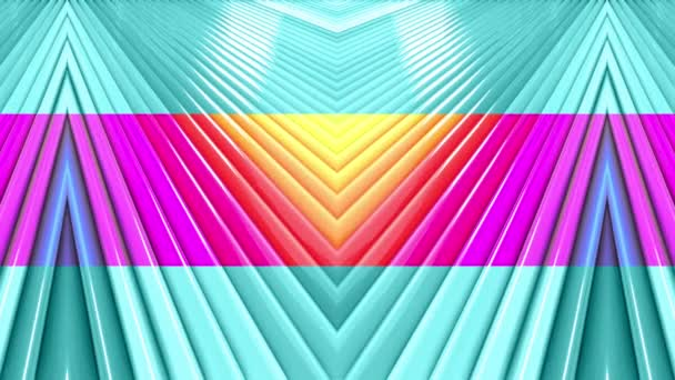 Abstract 3d seamless bright background in 4k with rainbow tapes. Rainbow multicolored stripes move cyclically in simple geometry cartoon creative style. Looped smooth animation. 42