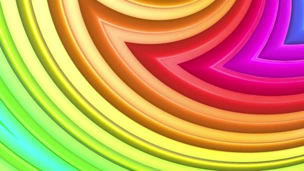 Abstraktní 3D bezešvé pozadí v 4k s duhové pásky. Duhové vícebarevné pruhy se pohybují cyklicky ve zjednodušené geometrii kresleném tvůrčím stylem. Plynulá animace. 52