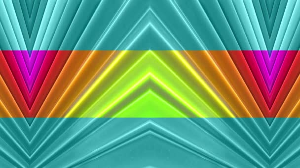 Abstract 3d seamless bright background in 4k with rainbow tapes. Rainbow multicolored stripes move cyclically in simple geometry cartoon creative style. Looped smooth animation. 53
