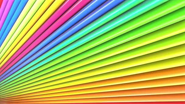 Absztrakt 3D zökkenőmentes fényes háttér 4k a szivárvány szalagok. Szivárvány többszínű csíkok mozgatni ciklikusan egyszerű geometria rajzfilm kreatív stílusban. Végtelenített sima animáció. 55