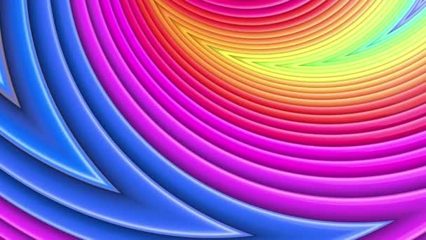 Abstraktní 3D bezešvé pozadí v 4k s duhové pásky. Duhové vícebarevné pruhy se pohybují cyklicky ve zjednodušené geometrii kresleném tvůrčím stylem. Plynulá animace. 59