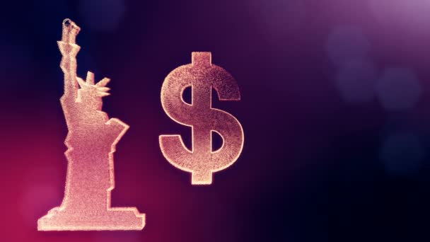 a Szabadság-szobor dollárjele és jelképe. A világító részecskék pénzügyi háttere. 3D loop animáció mélységélesség, bokeh és másolási hely a szöveget. Ibolya v6