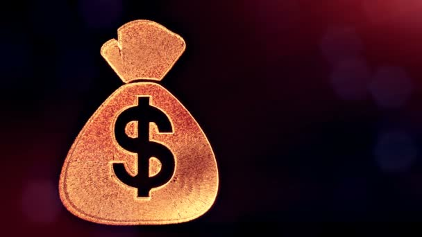 dollar sign in emblem of bag. Finance background of luminous particles. 3D loop animation with depth of field, bokeh and copy space for your text. v6