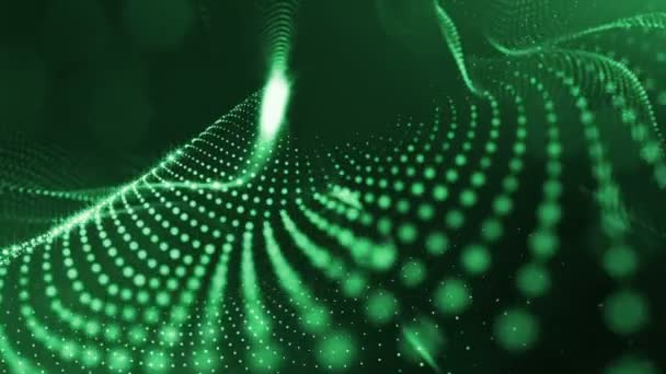 Abstract background of glowing particles with shining bokeh sparkles. Composition with luminous particles that form surface. Smooth animation looped. Green 4